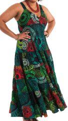 Robe longue Verte Féminine Ethnique et à Volants Steffy 284451