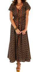 Robe longue vintage boutonnée devant pour un look boho chic Lalou 306116