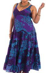 Robe longue Violette Ethnique féminine et à Volants Steffy 284445