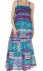 Robe longue voile de Coton esprit Indien et Ethnique Saguna Turquoise 283231