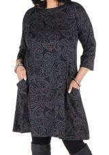 Robe manches 3/4 automne à poches imprimés tribal polynésien Sarkis 301296