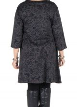 Robe manches 3/4 automne à poches imprimés tribal polynésien Sarkis 301298