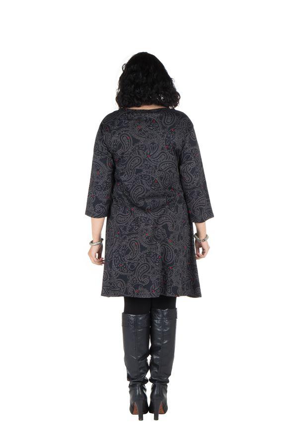 Robe manches 3/4 automne à poches imprimés tribal polynésien Sarkis 301299