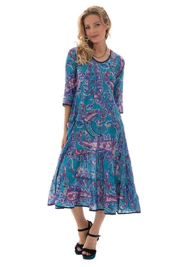 Robe manches 3/4 avec un col rond et motifs ethniques bleue Shoshanna 289024
