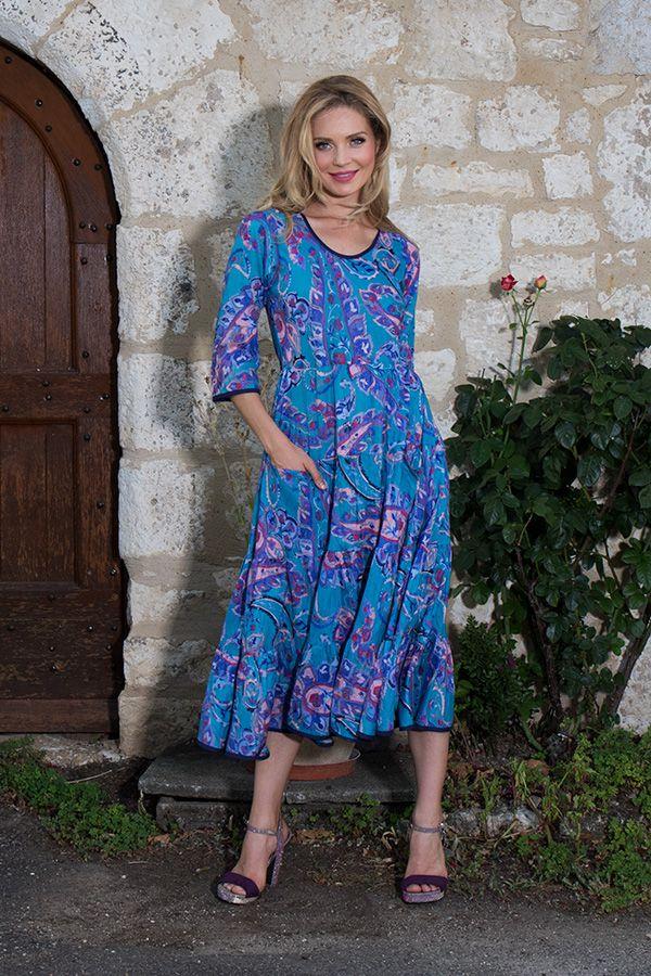 Robe manches 3/4 avec un col rond et motifs ethniques bleue Shoshanna 289026