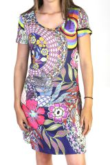 Robe manches courtes à imprimés originaux couleur Bleu Marine Ela 291606