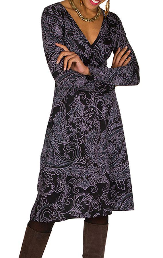 Robe manches longues aux imprimés vintage Vechi 300228