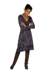 Robe manches longues aux imprimés vintage Vechi 300229
