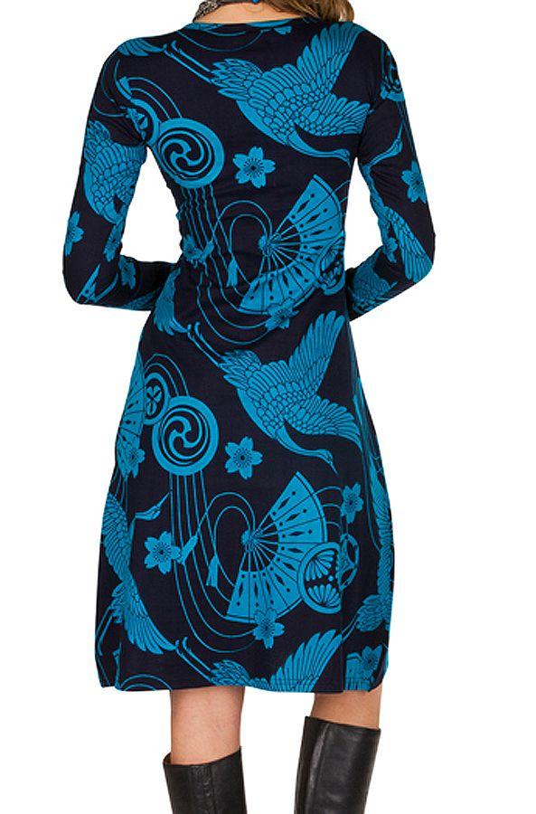 Robe manches longues aux motifs asiatique Asha 300222