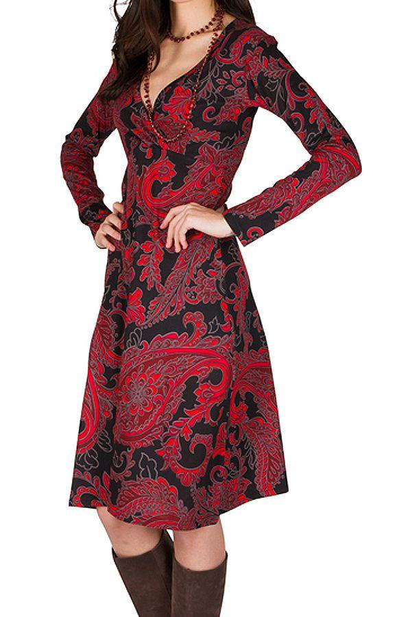 Robe manches longues aux motifs baroques rouge Berrucco 300212