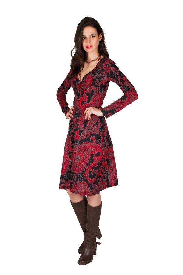 Robe manches longues aux motifs baroques rouge Berrucco 300213