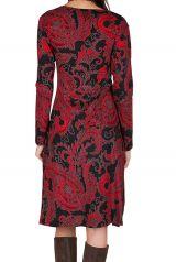 Robe manches longues aux motifs baroques rouge Berrucco 300214