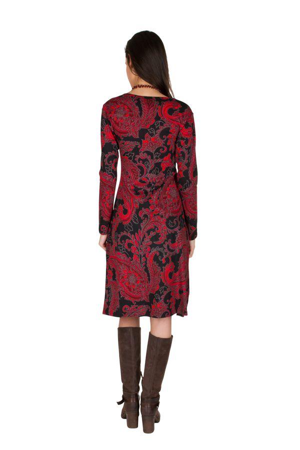 Robe manches longues aux motifs baroques rouge Berrucco