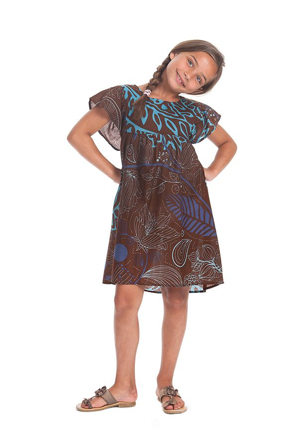 Robe Marron pour Enfant à manches courtes Colorée et Agréable Iga 279832