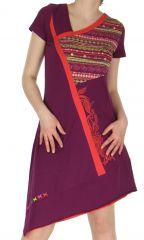 Robe Mauve à manches courtes Asymétrique et Ethnique Cinthya 283752