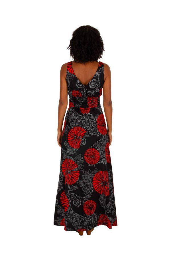 Robe maxi longue femme imprimée et colorée en coton Ana 309479
