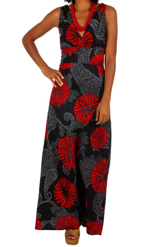 Robe maxi longue femme imprimée et colorée en coton Ana 309480