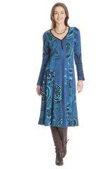 Robe mi- longue femme bleue avec des imprimés Liane 285462