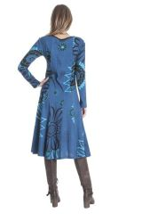 Robe mi- longue femme bleue avec des imprimés Liane 285463