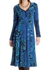 Robe mi- longue femme bleue avec des imprimés Liane 286623
