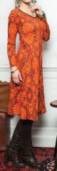Robe mi-longue à col V Imprimée et pas chère Aliona 274224