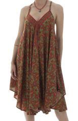 Robe mi-longue à dos-nu et col en V Sylvia Asymétrique Rouille 292251