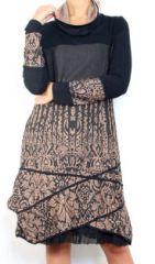 Robe mi-longue à manches longues originale et fantaisiste taupe Valou 304396