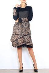 Robe mi-longue à manches longues originale et fantaisiste taupe Valou 304397