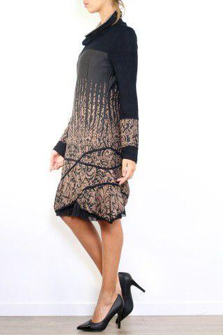 Robe mi-longue à manches longues originale et fantaisiste taupe Valou 304398