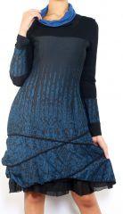 Robe mi-longue à manches longues originale et fantaisiste Valou Bleu 304388