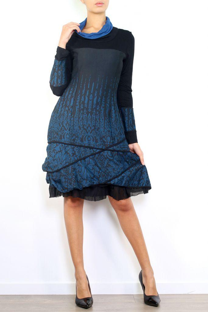 Robe mi-longue à manches longues originale et fantaisiste Valou Bleu 304389