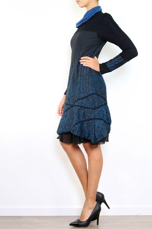 Robe mi-longue à manches longues originale et fantaisiste Valou Bleu 304390