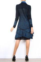 Robe mi-longue à manches longues originale et fantaisiste Valou Bleu 304391