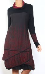 Robe mi-longue à manches longues originale et fantaisiste Valou bordeaux 304392