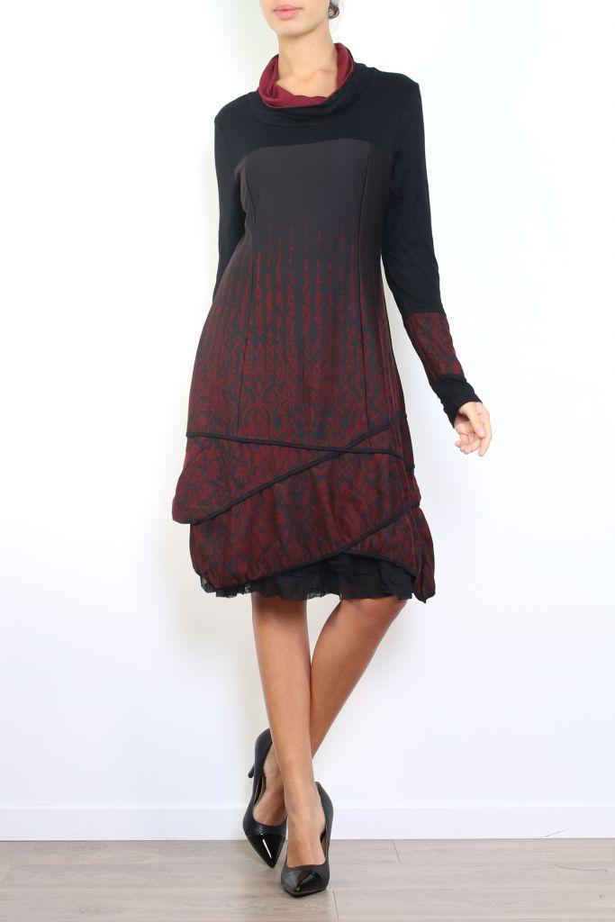 Robe mi-longue à manches longues originale et fantaisiste Valou bordeaux 304393
