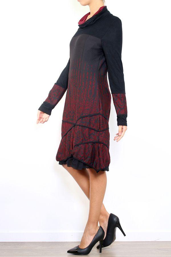 Robe mi-longue à manches longues originale et fantaisiste Valou bordeaux 304394