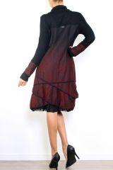 Robe mi-longue à manches longues originale et fantaisiste Valou bordeaux 304395
