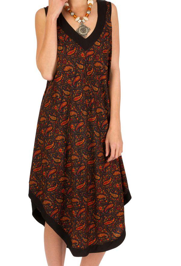 1699e40b882 Robe mi-longue ample et imprimée en polyester Berry 293244. Loading zoom