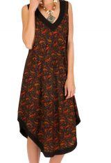Robe mi-longue ample et imprimée en polyester Berry 293244