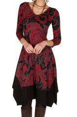 Robe mi-longue asymétrique coupe Flare imprimé floral Mirta 301274
