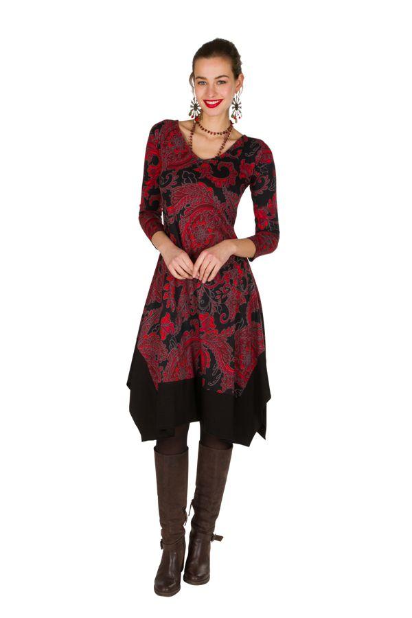 Robe mi-longue asymétrique coupe Flare imprimé floral Mirta 301275