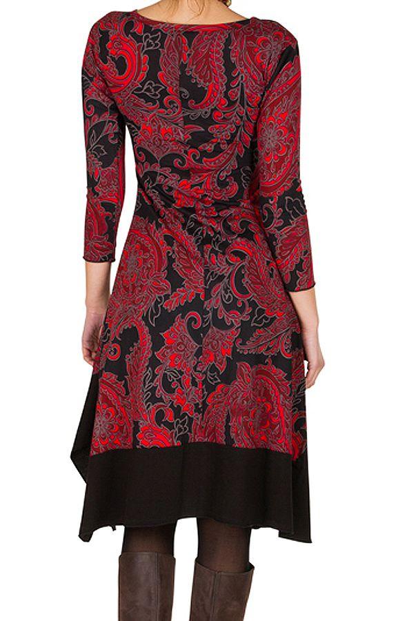 Robe mi-longue asymétrique coupe Flare imprimé floral Mirta 301276