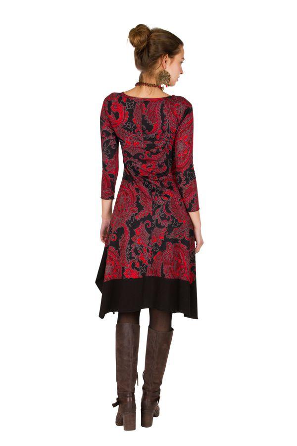 Robe mi-longue asymétrique coupe Flare imprimé floral Mirta 301277