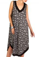 Robe mi-longue asymétrique élégante avec col en V noire&grise Berry 293220