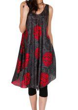 Robe mi-longue asymétrique et élégante avec un imprimé original Soraya 296210