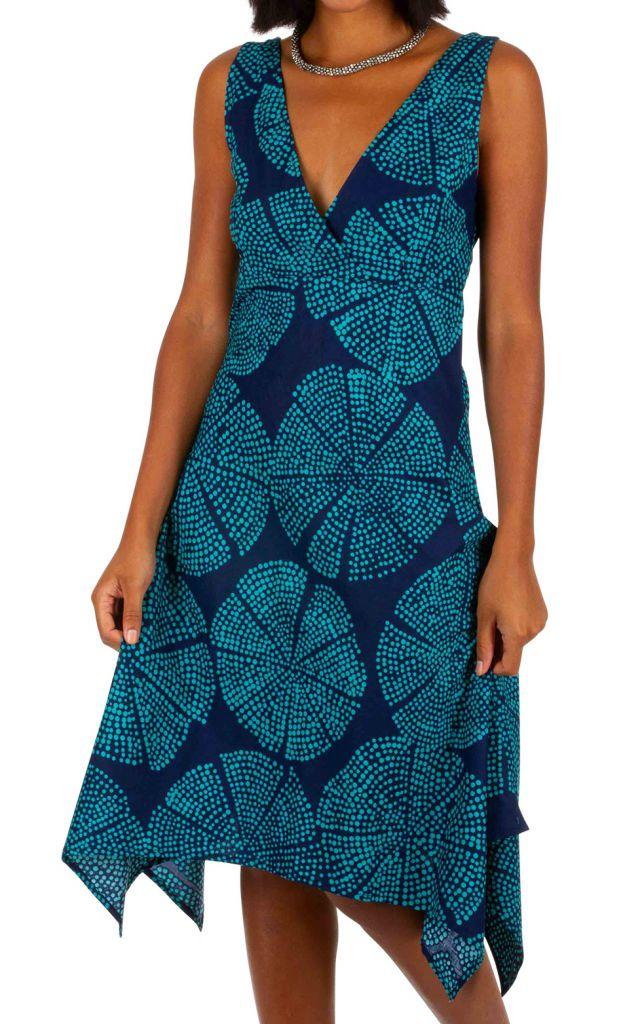 Robe mi-longue asymétrique et évasée bleue Cora