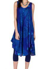Robe mi-longue asymétrique et féerique avec imprimés bleue Marianna 296152