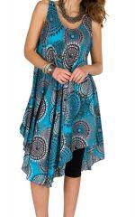 Robe mi-longue asymétrique et imprimé seventies Linette 295882
