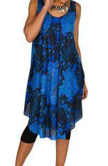 Robe mi-longue asymétrique imprimés fantaisies bleue Piper 296121