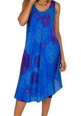 Robe mi-longue avec imprimés originaux et coupe asymétrique bleue Savanna 296186
